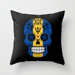 Sugar Skull with Roses and Flag of Barbados Throw Pillow