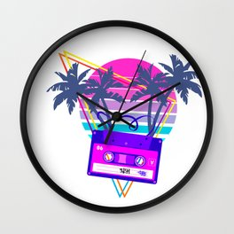 90s Vaporwave Sunset Cassette Tape in Outrun Synthwave style design Wall Clock