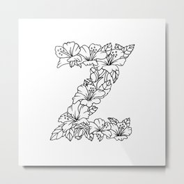 Floral Type - Letter Z Metal Print