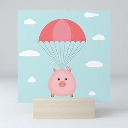 Baby Pig in a Parachute Mini Art Print