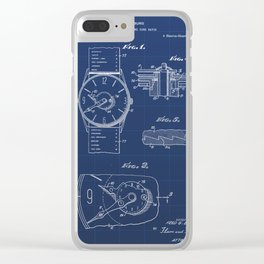 Push Button Time Zone Watch Vintage Patent Hand Drawing Clear iPhone Case