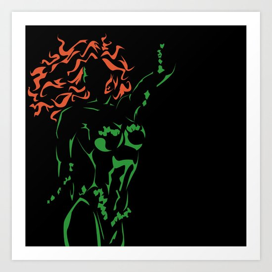Orange and Green: Poison Ivy the Viny Queen Art Print