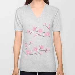 Cherry Blossom - Transparent Background Unisex V-Neck