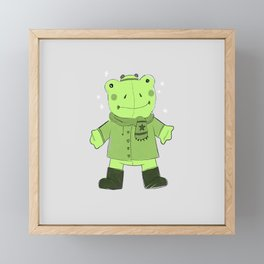 Jeremy Frog Winter Outfit Framed Mini Art Print