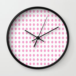 pink polka dot- polka dot,pattern,dot,polka,circle,disc,point,abstract,minimalism Wall Clock