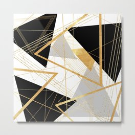 Black and Gold Geometric Metal Print