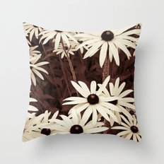 Daisies brown Throw Pillow