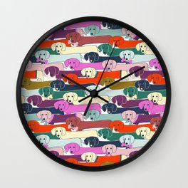 colored doggie pattern Wall Clock