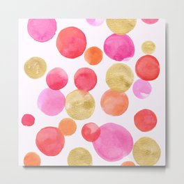 Shimmering Pink & Gold Bubbles Metal Print