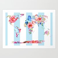 Floral World Stripe Art Print