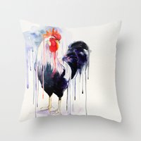 rooster Throw Pillows featuring Rooster  by Slaveika Aladjova