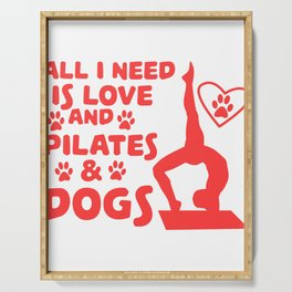 Love of dogs and yoga T-shirt Design Serving Tray