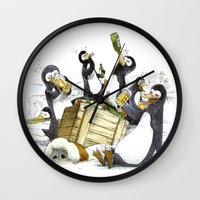 penguins Wall Clocks featuring Penguins by Bouletcorp