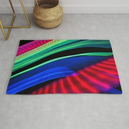 Colorful bands of light Rug