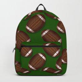 Footballs Design on Green Backpack