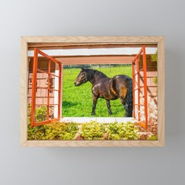Horse Farm Cottage Window View Framed Mini Art Print