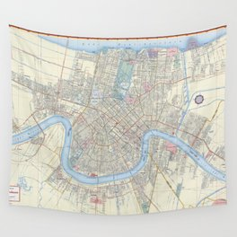 New Orleans Vintage Map Wall Tapestry