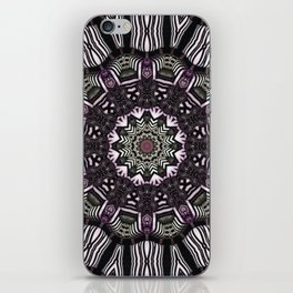 Mandala in black and white with hint of purple and green iPhone Skin