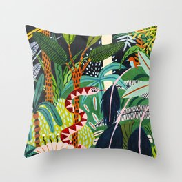 The Jungle at Midnight Throw Pillow