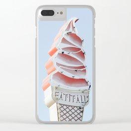 Ice cream eat neon Clear iPhone Case