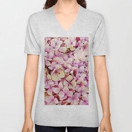 Pastel pink lilac botanical hydrangea floral Unisex V-Neck