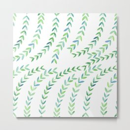 Watercolor Vines - Green & Blue Metal Print