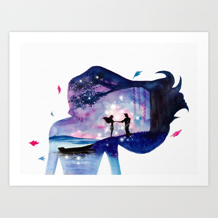 Pocahontas Double Exposure Art Print By Ahmadillustrations