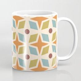 Mid Century Modern Abstract Star Dot Pattern 441 Orange Brown Blue Olive Green Coffee Mug