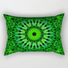 Deep Green Leaves Mandala Rectangular Pillow
