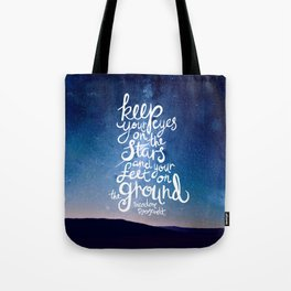 Eyes on the stars quote white lettering Tote Bag