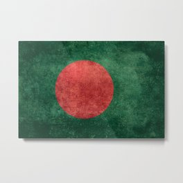 Flag of Bangladesh, Vintage Version Metal Print