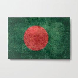 Flag of Bangladesh, Vintage Version Metal Print