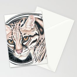 Ocelot Wild Cat Ink Art Stationery Cards