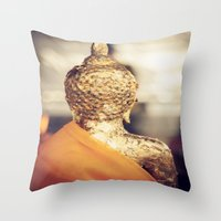 buddhism Throw Pillows featuring Buddha the other side  by Maria Heyens