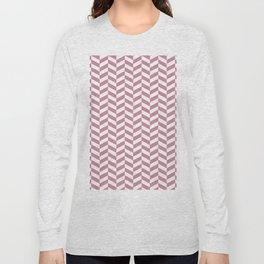 Puce Pink Herringbone Pattern Long Sleeve T-shirt