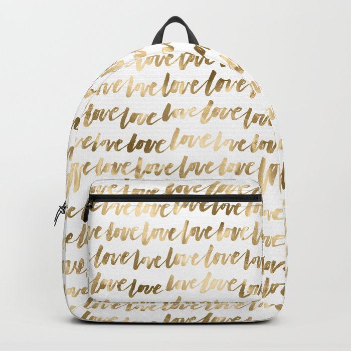 Gold Love Pattern Backpack