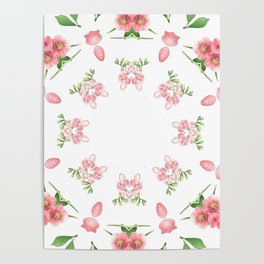 Shabby Chic Floral Mandala Poster