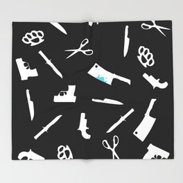 Black and White Weapons Throw Blanket