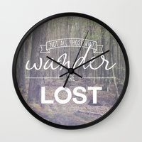 wander Wall Clocks featuring Wander by Canoe Point Designs
