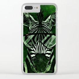 Hipster Zebra in Green Clear iPhone Case
