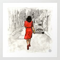 Woman in Red Dress Art Print