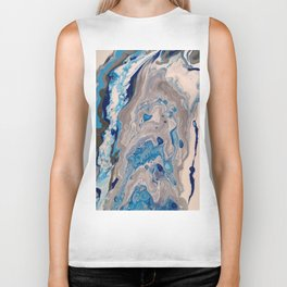 Abstract Painting - Blue and Silver Fluid Art - Organic Fluid Design Biker Tank