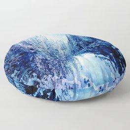 Blue Winter Wonderland : Forest Mirror Lake Floor Pillow