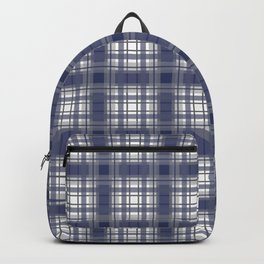 Navy Blue and Gray Plaid Backpack
