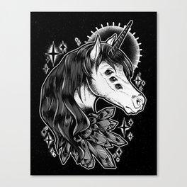 Crystal Unicorn Monochrome Canvas Print