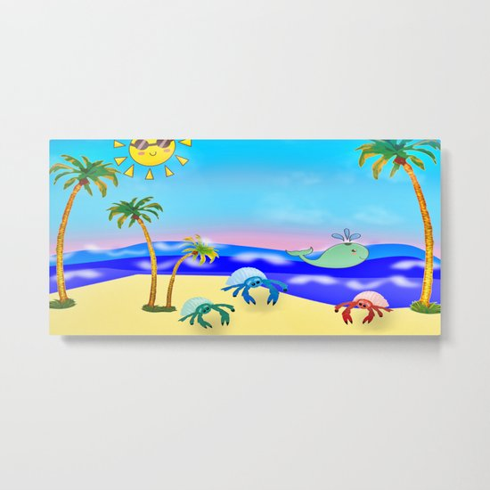 Beach Party for the Baby Crabs Metal Print