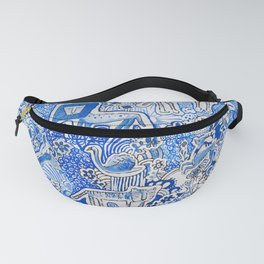 Delft Blue and White Pattern Painting with Lions and Tigers and Birds Fanny Pack
