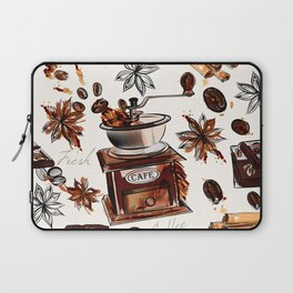 Coffee watercolor pattern with grains coffee mill and chocolate Laptop Sleeve