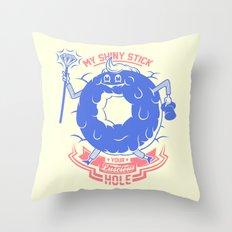 Mischievous donut Throw Pillow