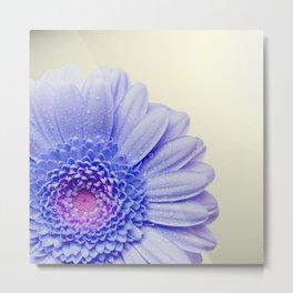 Blue Flower Beige Background Metal Print